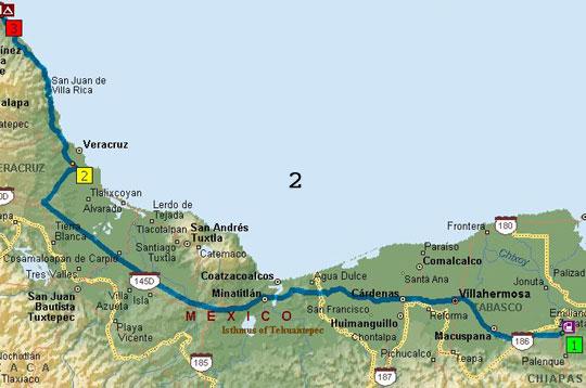 Mexico Trip Map 8-2